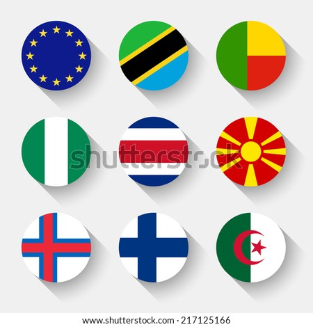 Flags of the world, set 03 with shadow - stock vector