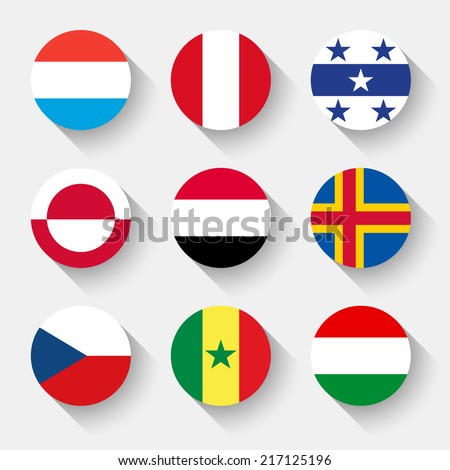 Flags of the world, set 04 with shadow - stock vector