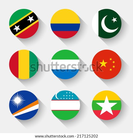 Flags of the world, set 13 with shadow