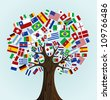 Flags of the World tree: countries participants of Soccer Cup 2010. Vector file available. - stock photo