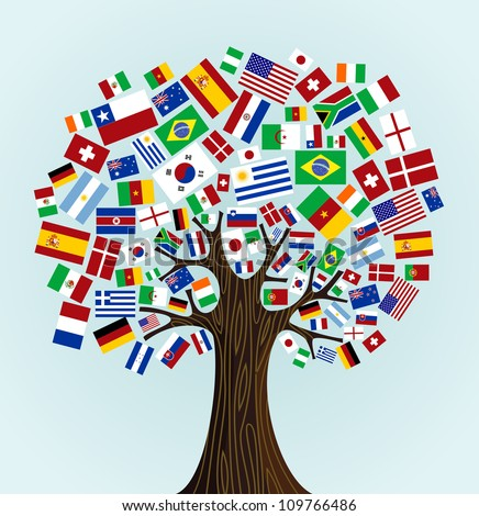Flags of the World tree: countries participants of Soccer Cup 2010. Vector file available. - stock vector
