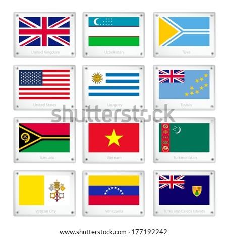 Flags of United Kingdom, Uzbekistan, Tuva, United States, Uruguay, Tuvalu, Vanuatu, Vietnam, Turkmenistan, Vatican City, Venezuela and Turks and Caicos Islands on Metal Texture Plates.  - stock vector