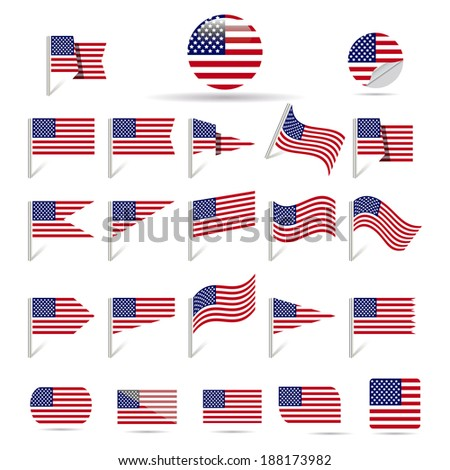 Flags of USA. - stock vector