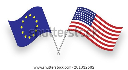 Flags of USA and European Union, Alliance - stock vector