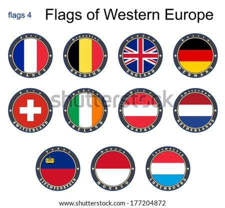Flags of Western Europe. Flags 4. Vector. - stock vector