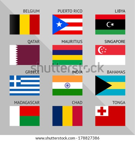 Flags of world, flat vector illustration. Set number 02 - stock vector