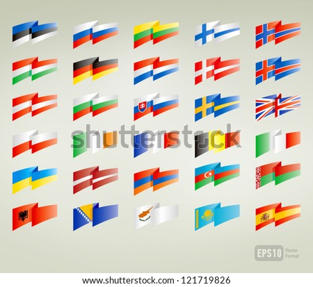 flags set europe