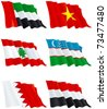 Flags set 11. Flags of Asia countries. Yemen,  Bahrain, Uzbekistan,  Lebanon, Vietnam,  United Arab Emirates. - stock photo