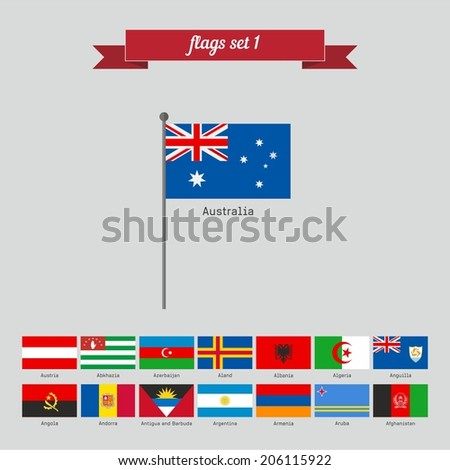 Flags set 1. Flat style design - vector