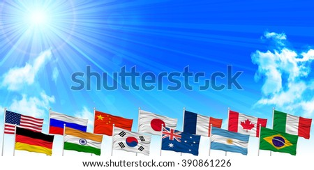 Flags sky landscape background