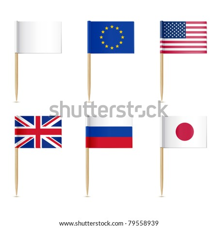 Flags toothpick. American, Europen union, United Kingdom, Russian, Japanese flags - stock vector