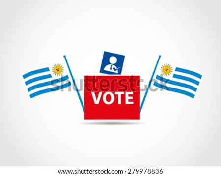 Flags Uruguay Campaign Ballot Box President - stock vector