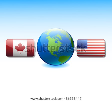 Flags USA and Canada at globe - stock vector