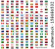 Flags vector of the world and world map on white background - stock photo