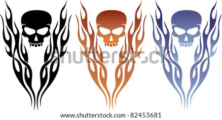 Flame and Skull Tattoo - stock vector