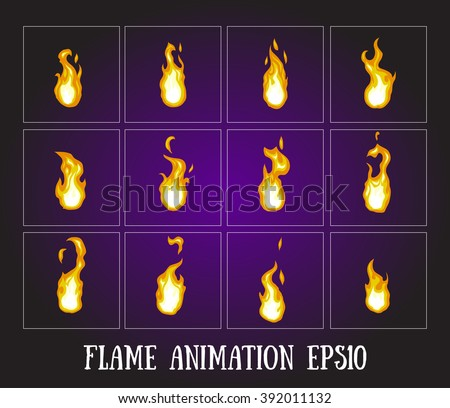 Flame animation. Fire animation. Blaze animation. Flasher Pause animation. Bonfire. Fireball. - stock vector