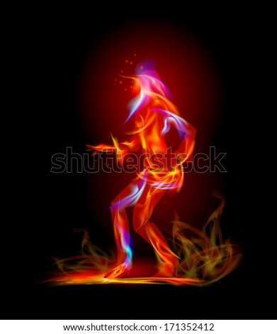 Flame collection Dancing fire girl - stock vector