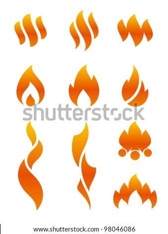 Flame icons - stock vector