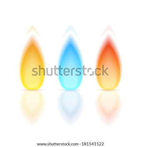 Flame of different colors with reflection on white background, vector eps10 illustration - stock vector