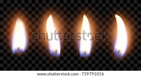 flame of four candles with the effect of transparency, highly realistic illustration