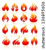 Flame reddish, set icons with reflection on white background, vector illustration - stock vector