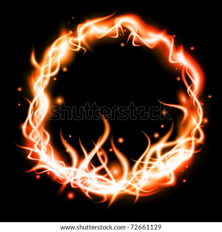 flame round over black background