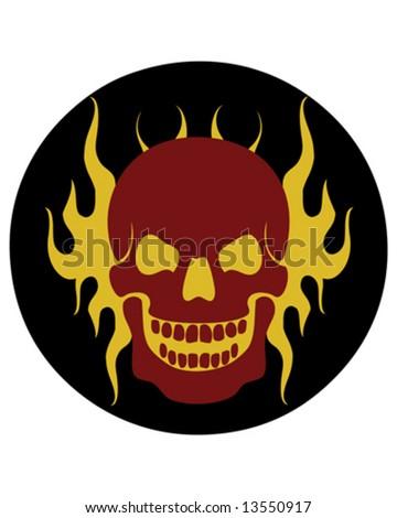 flame skull vector - stock vector
