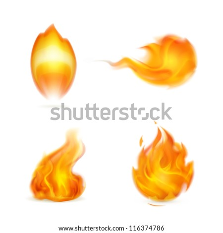 Flame, vector icon - stock vector
