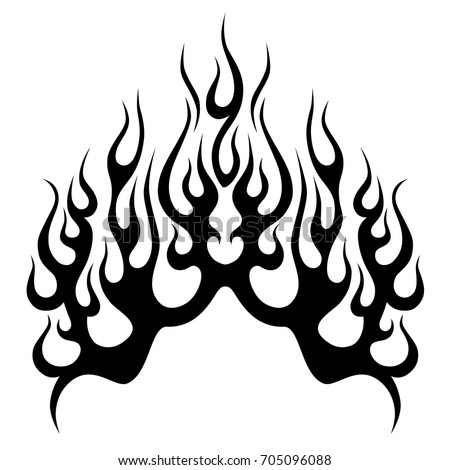 Flame vector tribal flame tattoo design stock vector for Black and white flame tattoo