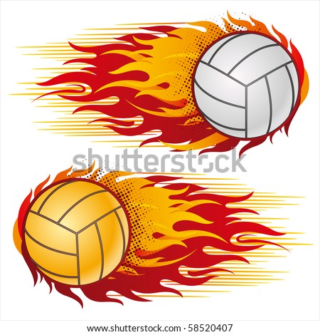 flame,volleyball design element - stock vector