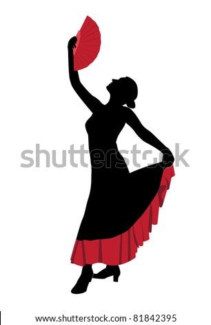 Flamenco dancer with a fan - stock vector