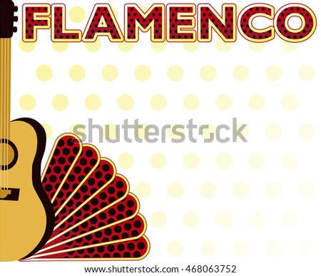 Flamenco party music invitation background, vector illustration