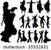Flamenco spanish dancers typical poses. Vector silhouettes. - stock vector