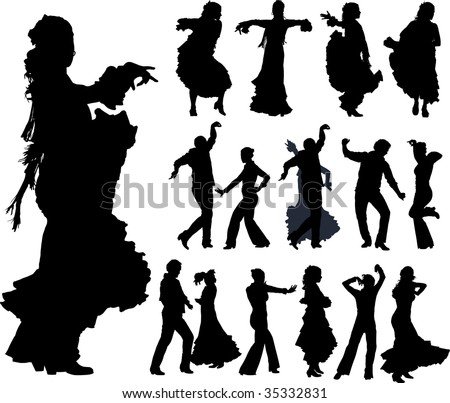 Flamenco spanish dancers typical poses. Vector silhouettes.