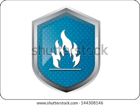 flames icon button on white background