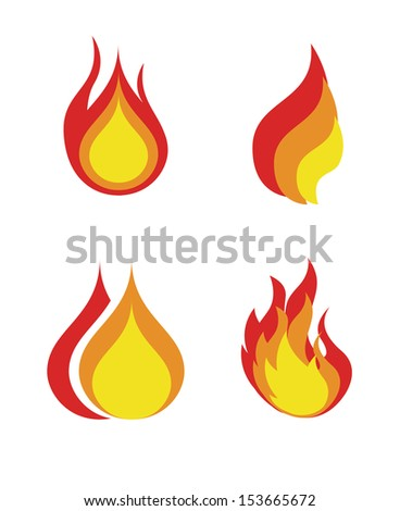 flames icon over white background vector illustration  - stock vector