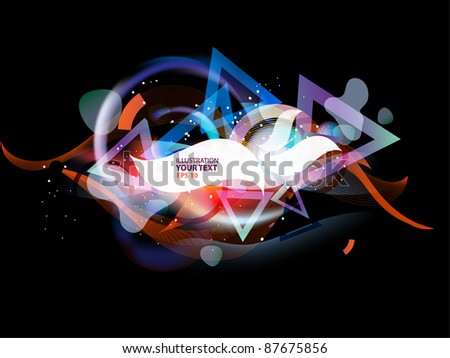 Flames of light abstract background with geometrical and glowing elements - stock vector