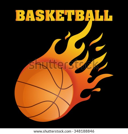 Flaming basketball, vector illustration 10 eps graphic.