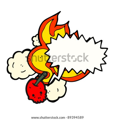 flaming cherry bomb skull with speech bubble