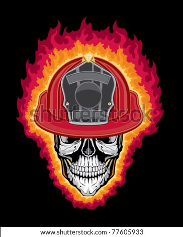 Flaming Firefighter Skull and Helmet is an illustration of a flaming stylized human skull wearing a firefighter helmet. Vector format is easily edited or separated for print and screen print. - stock vector