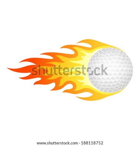 Flaming golf ball - stock vector