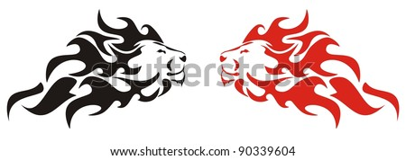 Flaming lion. Black and red variants - stock vector