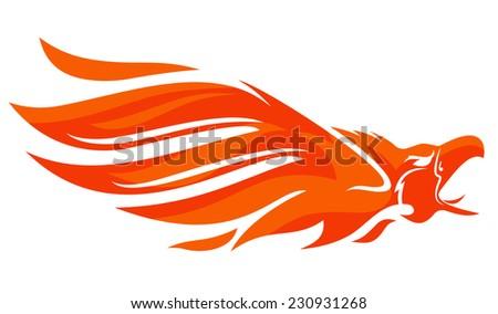 Flaming Phoenix Bird Open Beak Stock Vector (Royalty Free ...
