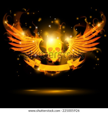 flaming skull with banner and fire wings - stock vector