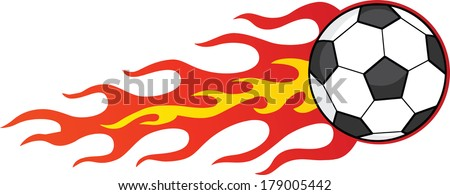 Flaming Soccer Ball. Vector Illustration Isolated on white - stock vector