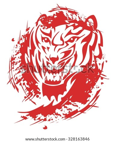 Flaming tiger roar. Tribal tiger head with blood drops splashes  - stock vector