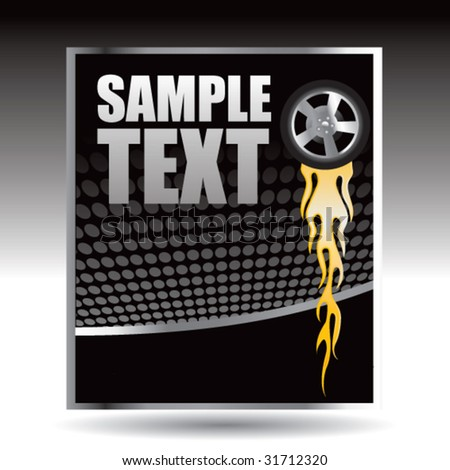 flaming tire on black halftone banner - stock vector