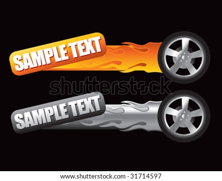 flaming tires on tilted banners - stock vector