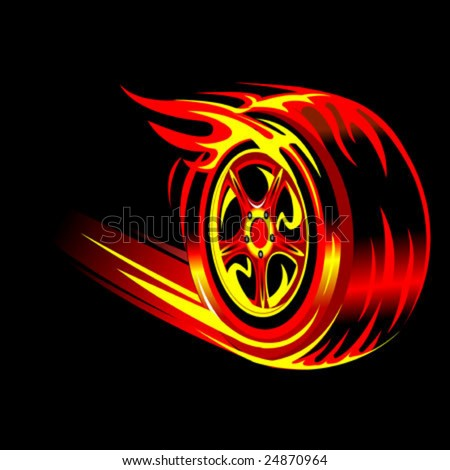flaming vector wheel in black background. Speed and racing concept - stock vector