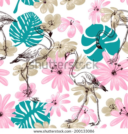 Flamingo and flowers exotic garden seamless pattern - stock vector